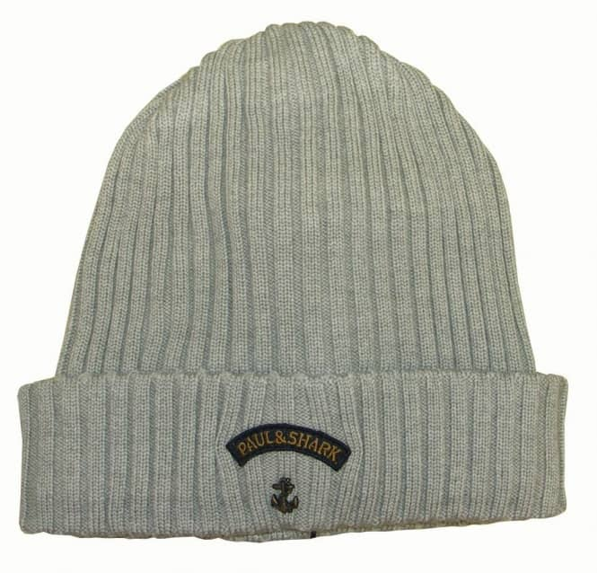 b86add36178 Paul   Shark Paul and Shark Grey Ribbed Wool Beanie Hat - Gift Ideas from  DesignerWear2U UK