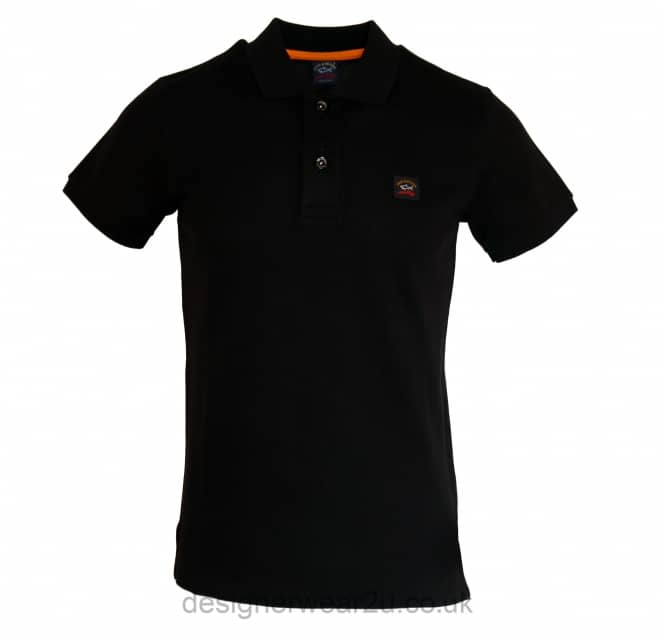 Paul & Shark Paul & Shark Black Shark Fit Short Sleeved Polo Shirt