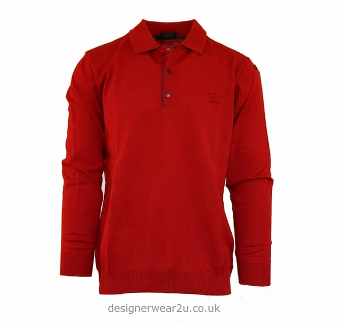Paul & Shark Paul & Shark Button Neck Knit Polo in Red