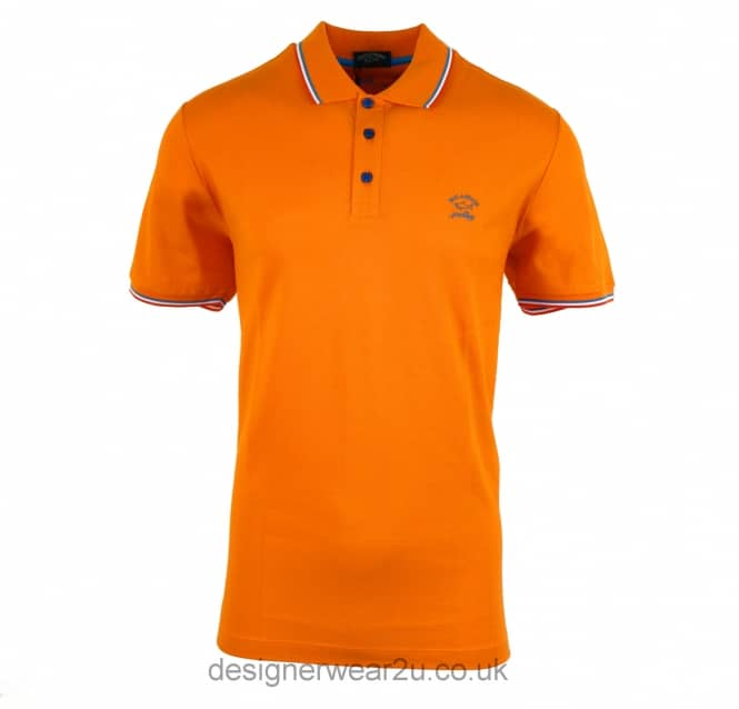 Paul & Shark Paul & Shark Collar Trimmed Polo in Orange