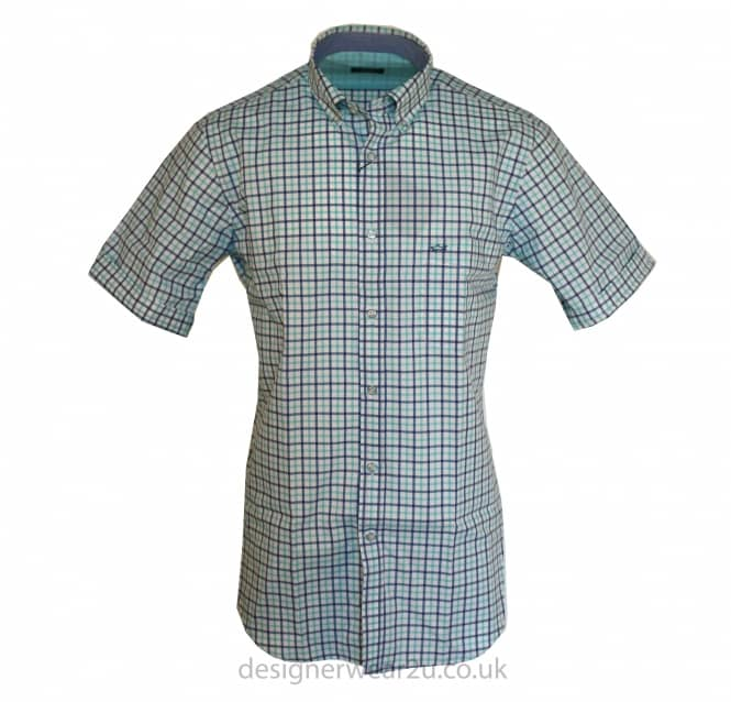 Paul & Shark Paul & Shark Mint & Blue Short Sleeved Checked Shirt