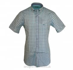 Paul & Shark Mint & Blue Short Sleeved Checked Shirt
