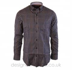 Paul & Shark Navy Regular Fit Shirt With Multi Coloured Check