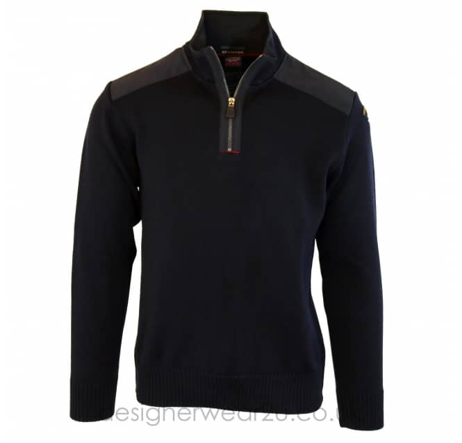 Paul & Shark Paul & Shark Navy Regular Fitting Zip Neck Jumper