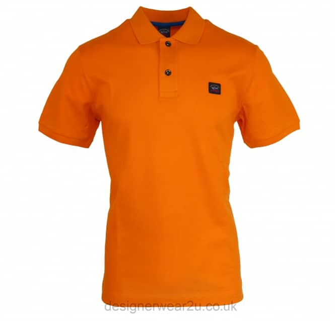 Paul & Shark Paul & Shark Orange Regular Fitting Short Sleeved Polo Shirt