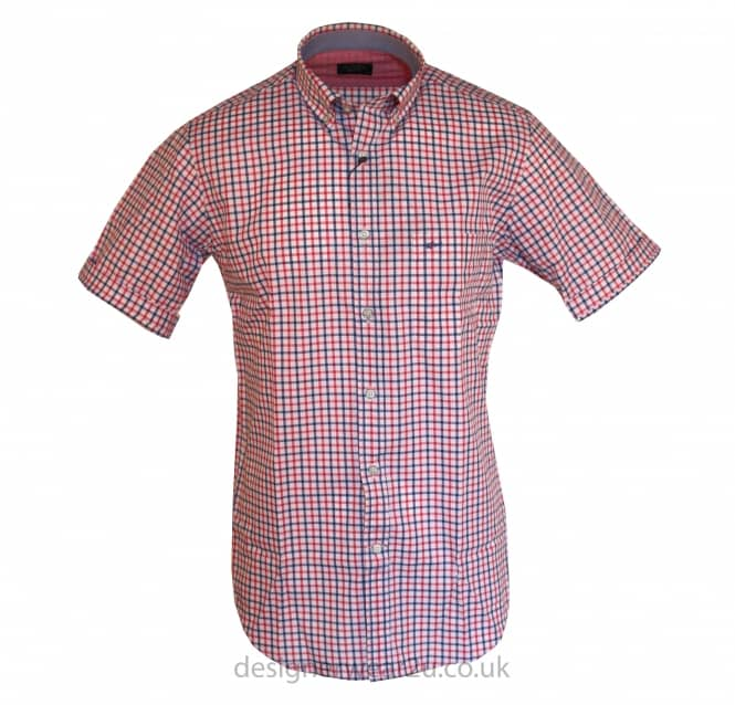 Paul & Shark Paul & Shark Red & Blue Short Sleeved Checked Shirt