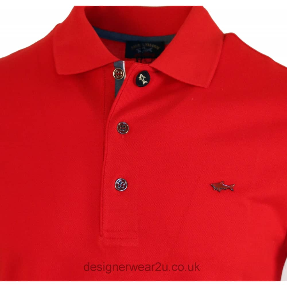 Paul Shark Red Regular Fit Polo With Metal Logo Polo Shirts From