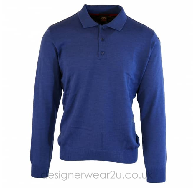 Paul & Shark Paul & Shark Regular Fit Button Neck Wool Polo in Blue