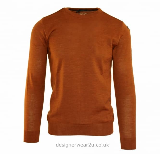 Paul & Shark Paul & Shark Regular Fit Crew Knit with Anchor in Copper