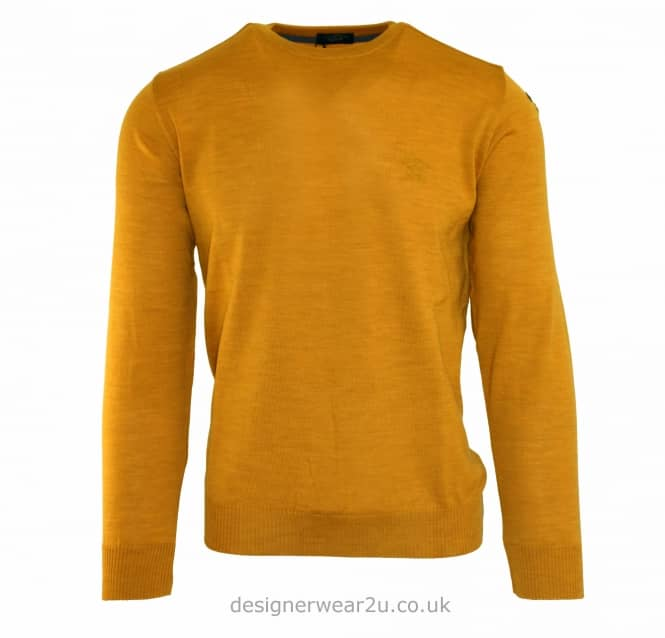 Paul & Shark Paul & Shark Regular Fit Crew Knit with Anchor in Mustard
