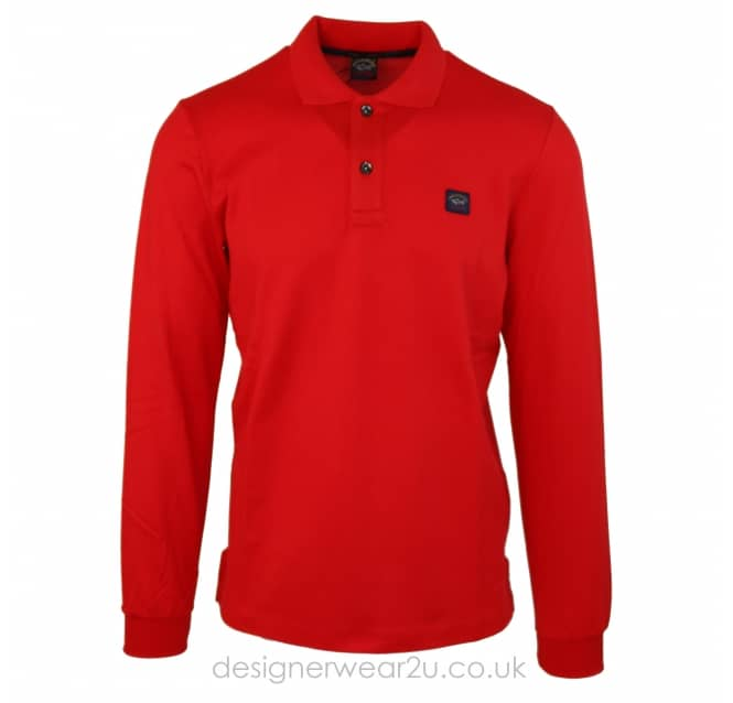 Paul & Shark Paul & Shark Regular Fitting Long Sleeve Polo Shirt in Red