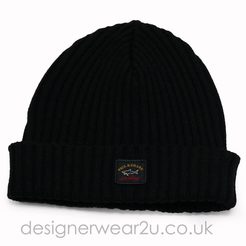 f4bf99ab7d2d Paul   Shark Wool Beanie Hat in Black - Headwear from DesignerWear2U UK
