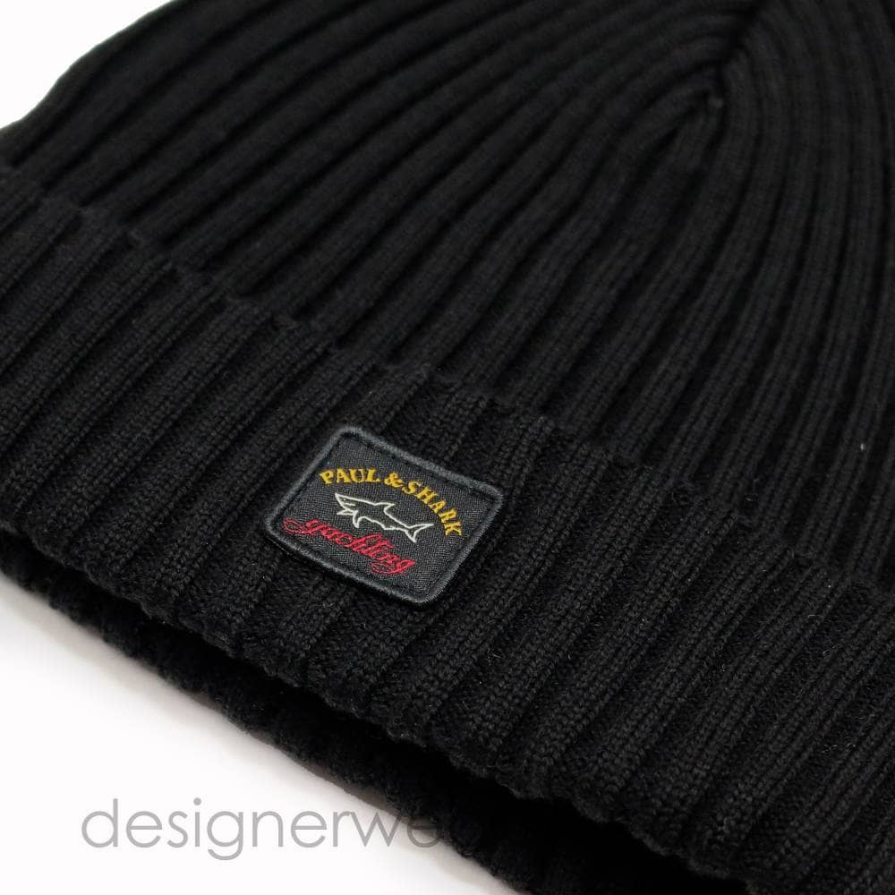 245e821d49101 Paul   Shark Wool Beanie Hat in Black - Headwear from DesignerWear2U UK
