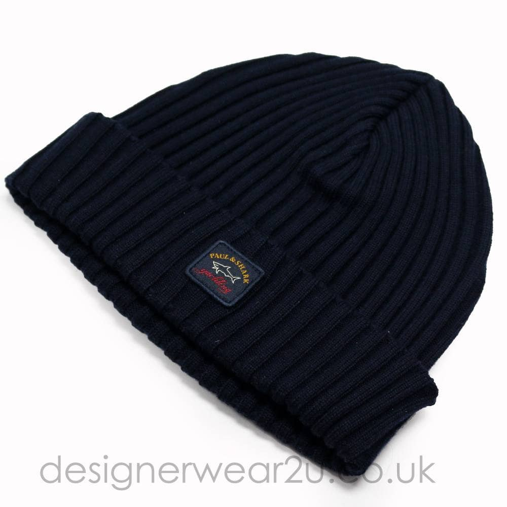 16e8208e60985 Paul   Shark Wool Beanie Hat in Navy - Hats from DesignerWear2U UK