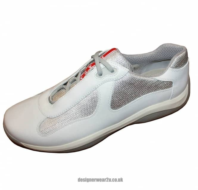 Prada Americas Cup Lace Up Trainers In White Footwear