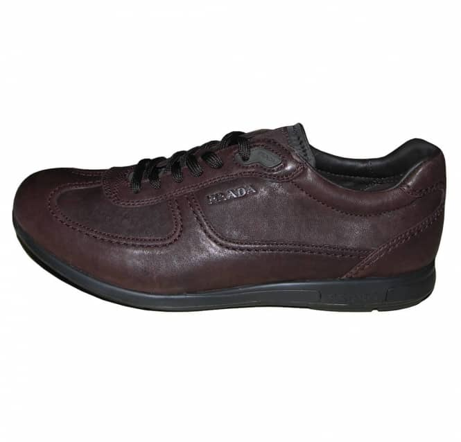 e69644a1a9 Prada Prada Brown Leather Training Shoe