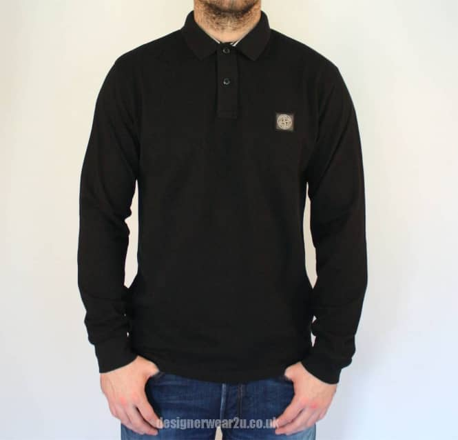 129516f4 S.Island Stone Island Black Regular Fitting Long Sleeved Polo Shirt ...
