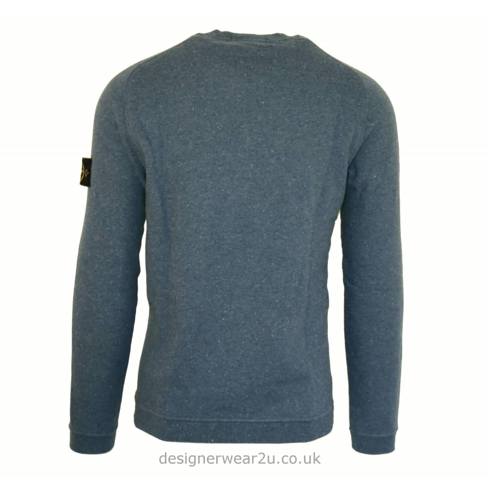 Stone Island Blue Crewneck Sweatshirt With Zip Pocket ...