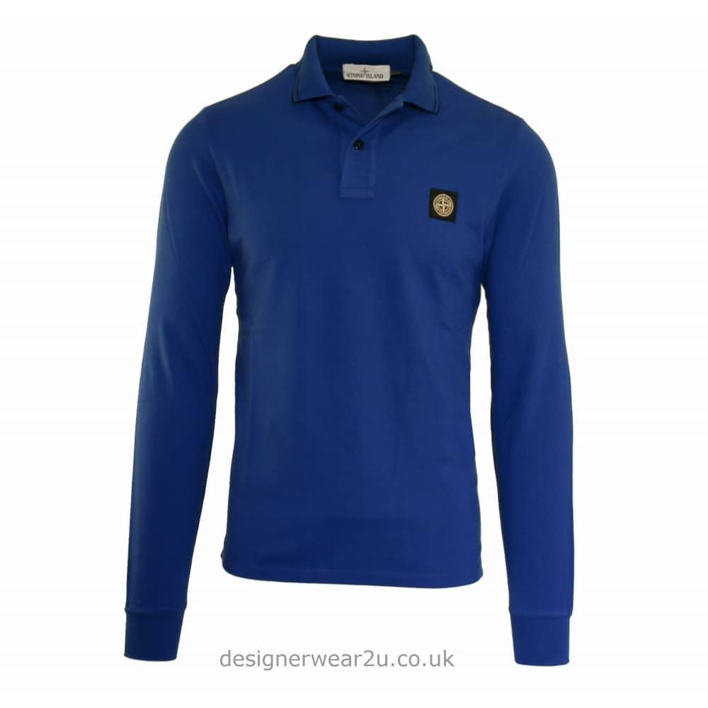 7b650327e73 S.Island Stone Island Blue Slim Fit Long Sleeved Polo Shirt - Polo ...