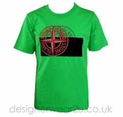 Stone Island Junior Double Compass Print T-Shirt in Green