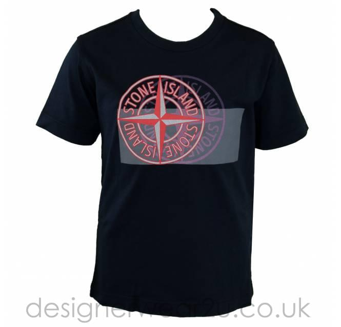 Stone Island Junior Stone Island Junior Double Compass Print T-Shirt in Navy