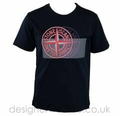 Stone Island Junior Double Compass Print T-Shirt in Navy