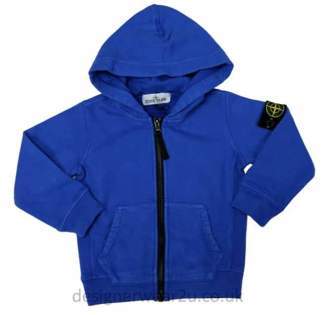 Stone Island Junior Stone Island Junior Full Zipper Hooded Sweat in Blue
