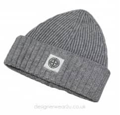 Stone Island Junior Grey Wool Mix Beanie Hat