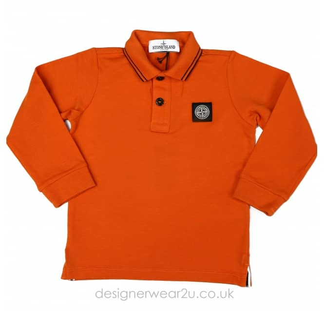 Stone Island Junior Stone Island Junior long sleeved polo in Orange