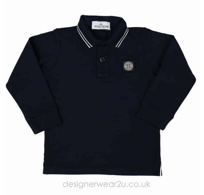 Stone Island Junior Stone Island Junior Long Sleeved Polo Shirt in Navy