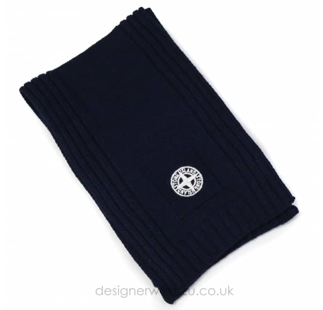 Stone Island Junior Stone Island Junior Navy Wool Mix Scarf