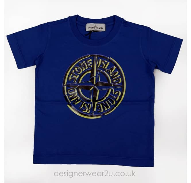 Stone Island Junior Stone Island Junior Printed Logo T-shirt in Blue