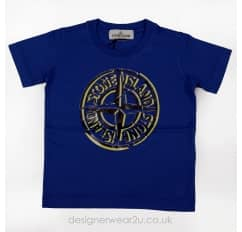 Stone Island Junior Printed Logo T-shirt in Blue
