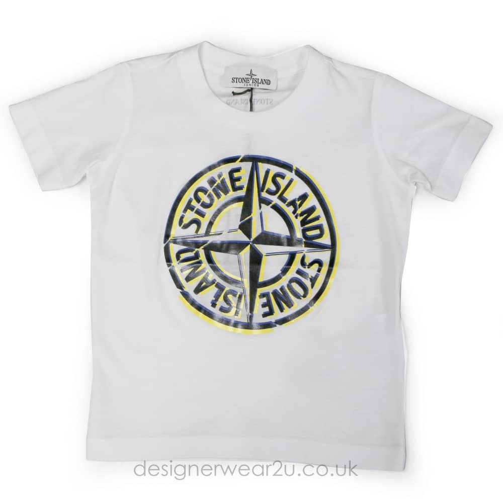 5a5e4c9cd623a S.I Junior Stone Island Junior Printed Logo T-shirt in White - Kids  Collection from DesignerWear2U UK
