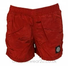 Stone Island Junior Red Nylon Metal Swim Shorts