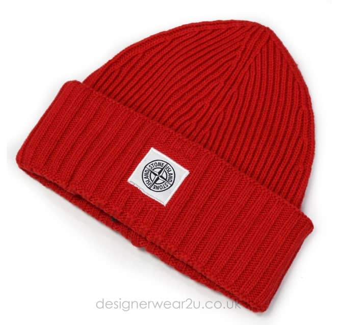 Stone Island Junior Stone Island Junior Red Wool Mix Beanie Hat