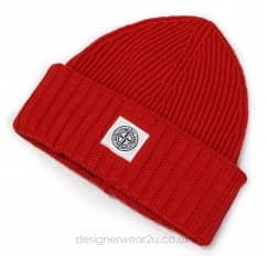 Stone Island Junior Red Wool Mix Beanie Hat
