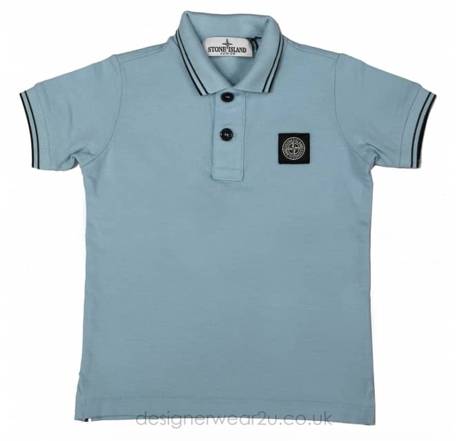 Stone Island Junior Stone Island Junior Short Sleeved Polo in Light Blue