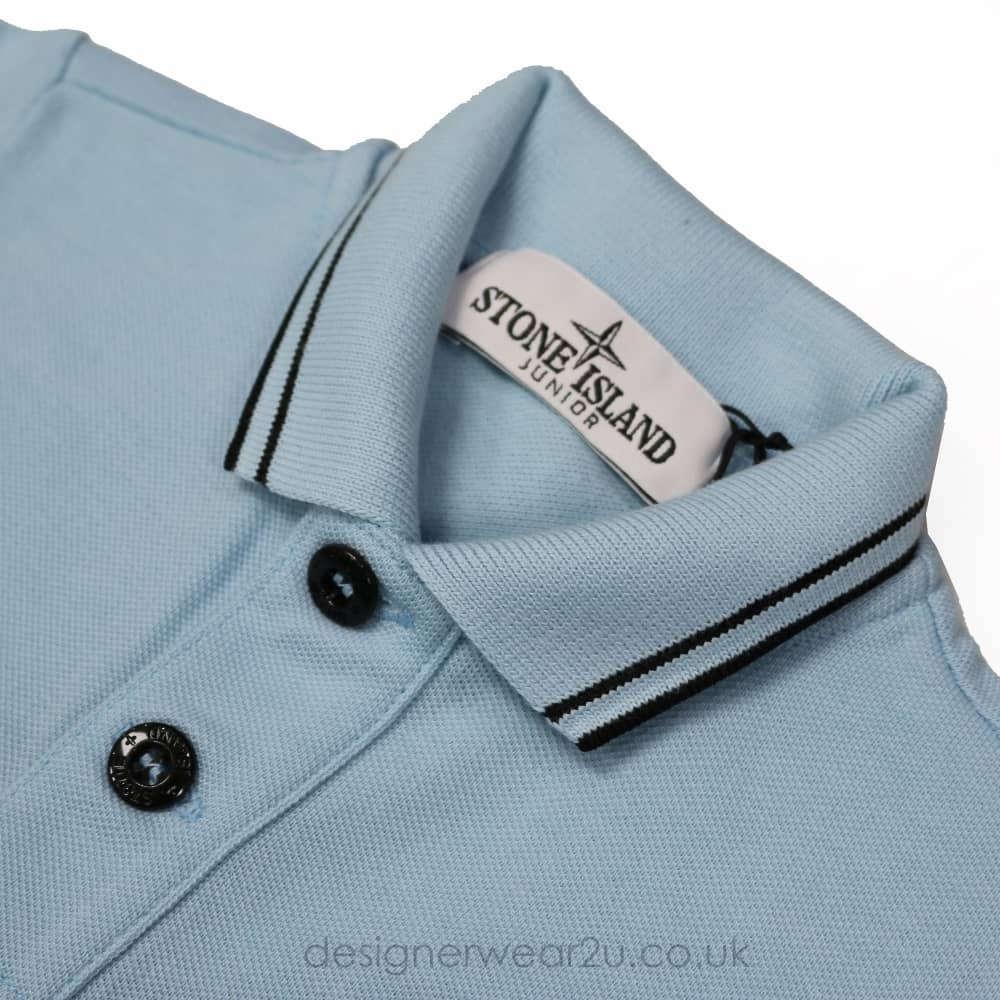 Stone Island Junior Short Sleeved Polo In Light Blue