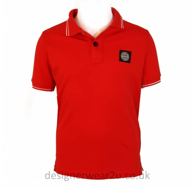Stone Island Junior Stone Island Junior Trimmed Polo Shirt in Red