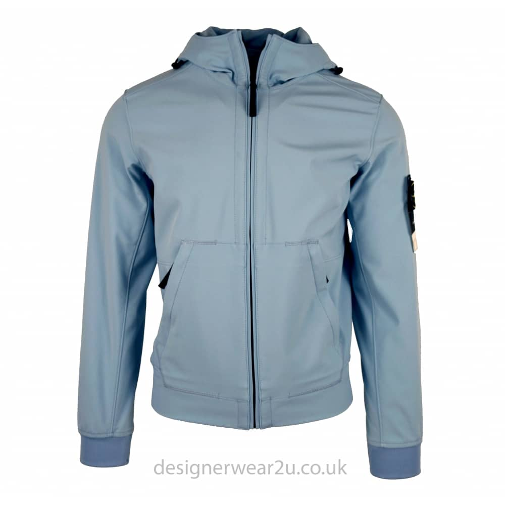 Stone Island Light Blue Hooded Soft Shell Jacket