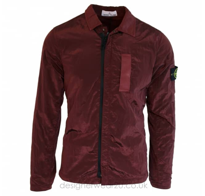Stone Island Stone Island Metallic Overshirt in Bordeaux