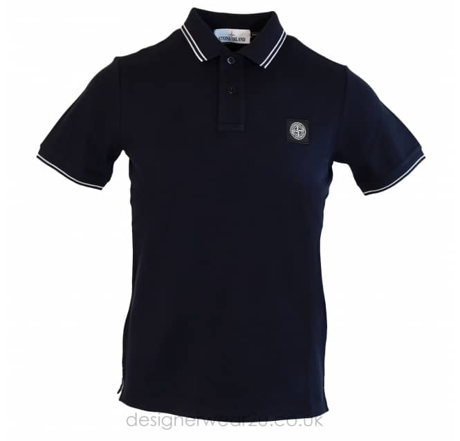Stone Island Stone Island Navy Slim Fit Short Sleeved Polo Shirt