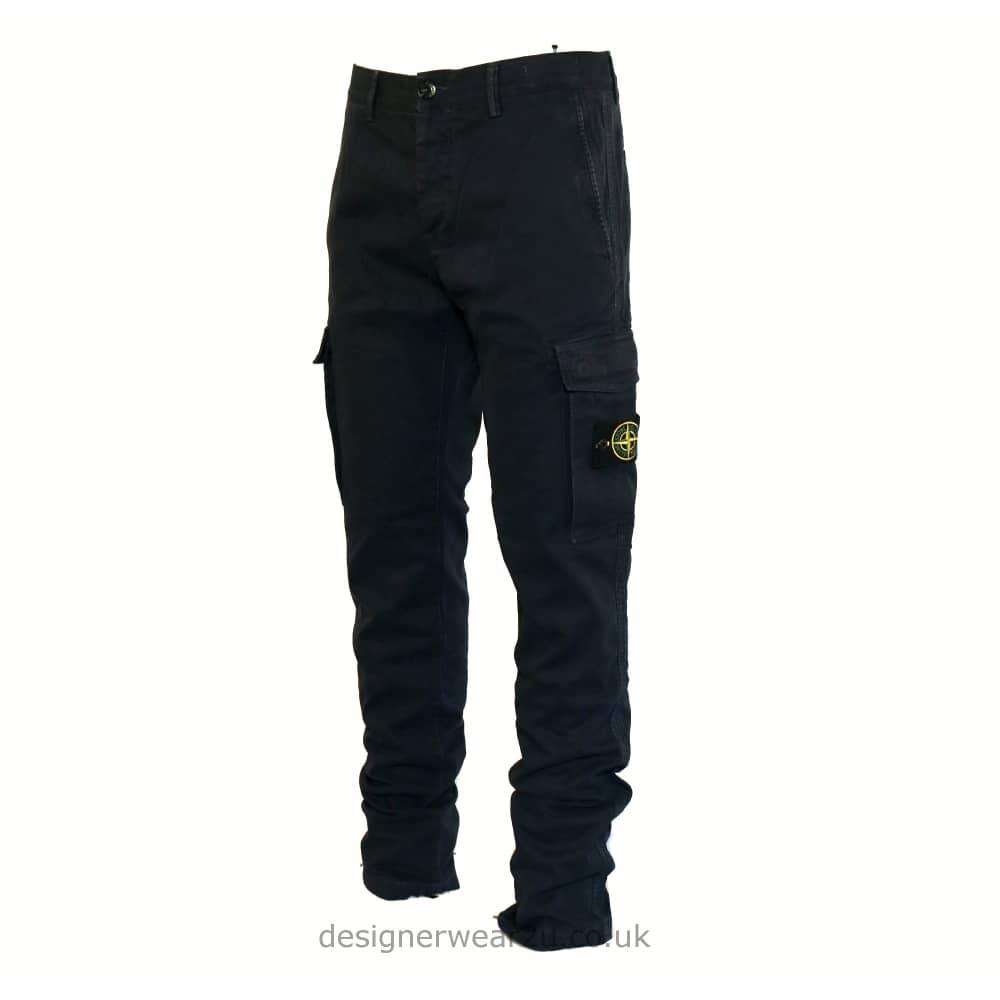 S.Island Stone Island Navy Slim Fitting Cargo Trousers ...