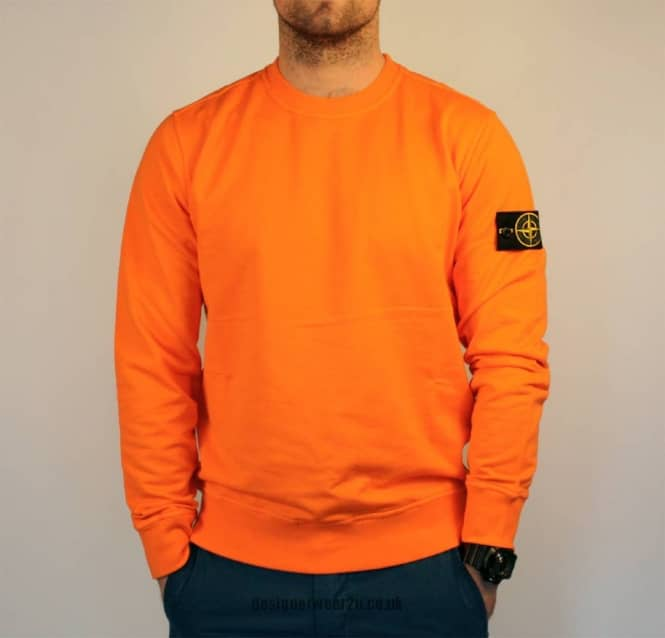 S Island Stone Island Orange Plain Crewneck Sweatshirt