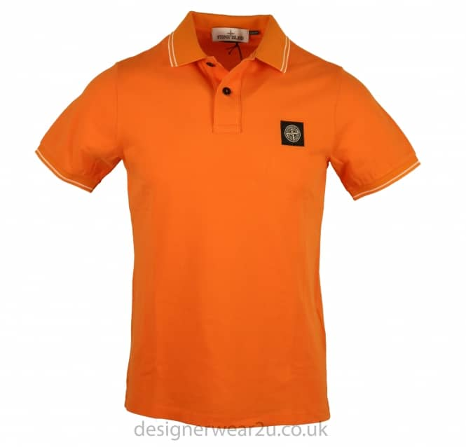 Stone Island Stone Island Orange Slim Fit Short Sleeved Polo Shirt