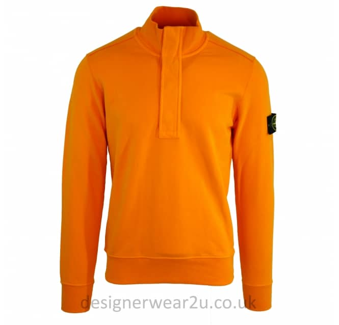 Stone Island Stone Island Quarter Zipper Sweatshirt in Orange