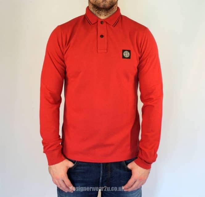 ece3e6ac S.Island Stone Island Red Slim Fit Long Sleeved Polo Shirt - Polo ...