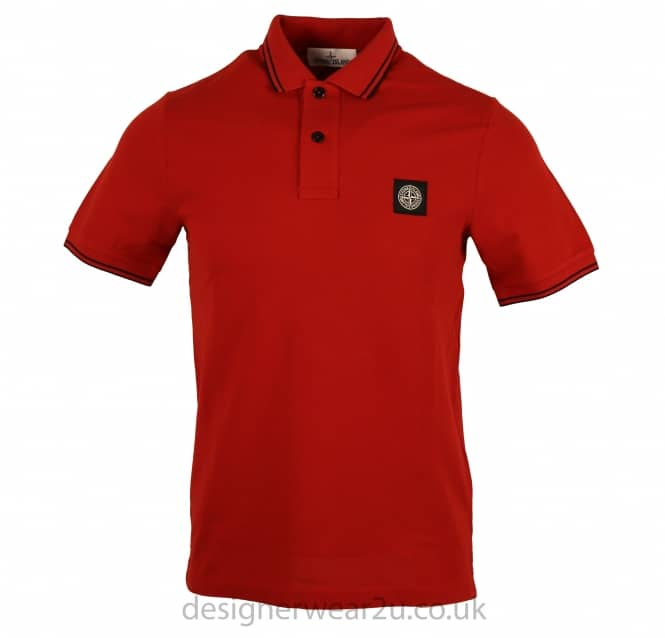Stone Island Stone Island Red Slim Fit Short Sleeved Polo Shirt