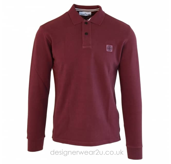 Stone Island Stone Island Regular Fit Long Sleeve Polo in Bordeaux